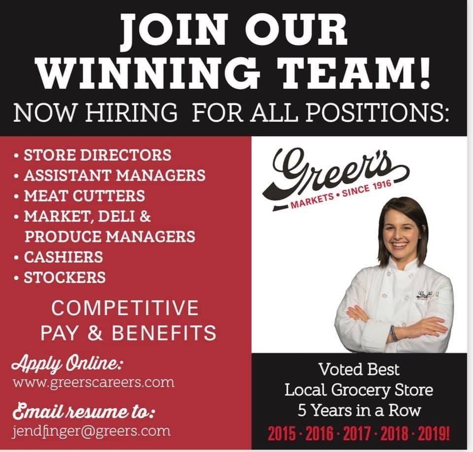 Greer's is hiring